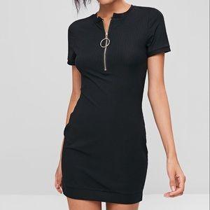 Ribbed tee half zip black fitted dress